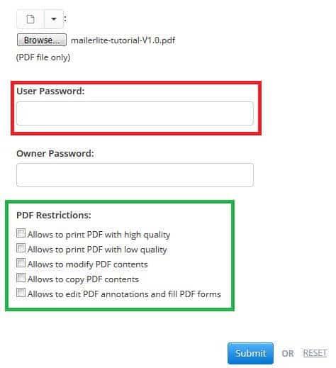 رمز گذاشتن روی فایل PDF با استفاده از سایت