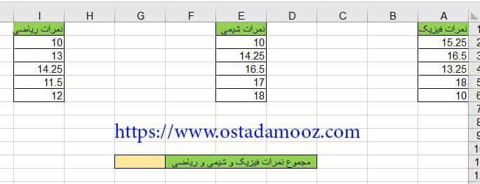 مثال کاربردی از تابع sum