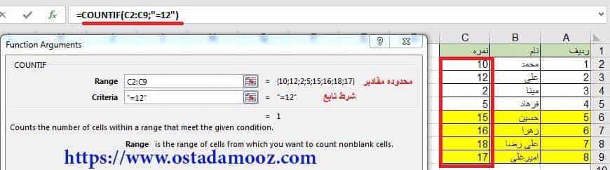محاسبه تعداد با تابع countif