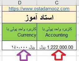کاربرد واحد پولی با accounting در فرمت سل