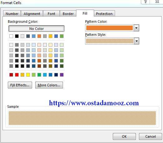تعیین رنگ زمینه برای سلول ها در فرمت سل